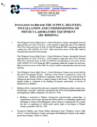 INVITATION TO BID FOR THE SUPPLY, DELIVERY, INSTALLATION AND COMMISSIONING OF PHYSICS LABORATORY EQUIPMENT (RE-BIDDING)